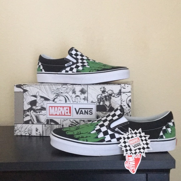 08ac84e12b4448 Vans Hulk Checkerboard Marvel Shoes Slip On